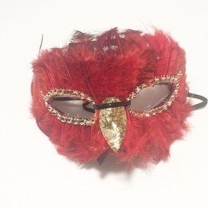 Imagin8 Red Feather Adult Halloween Eye Mask